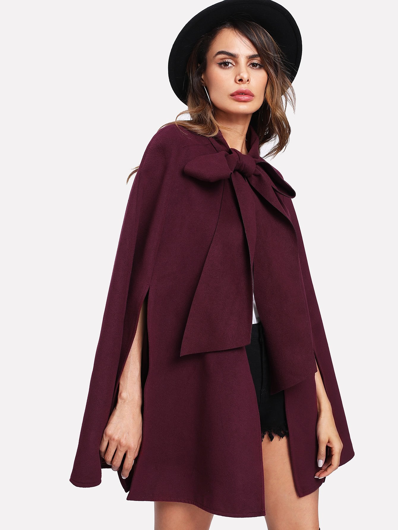 Slit Back Tied Front Cape Coat black open front sleeveless cape coat
