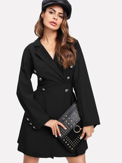 Double Breasted Surplice Blazer Dress