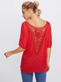 Roll Tab Sleeve Crochet Back T-shirt
