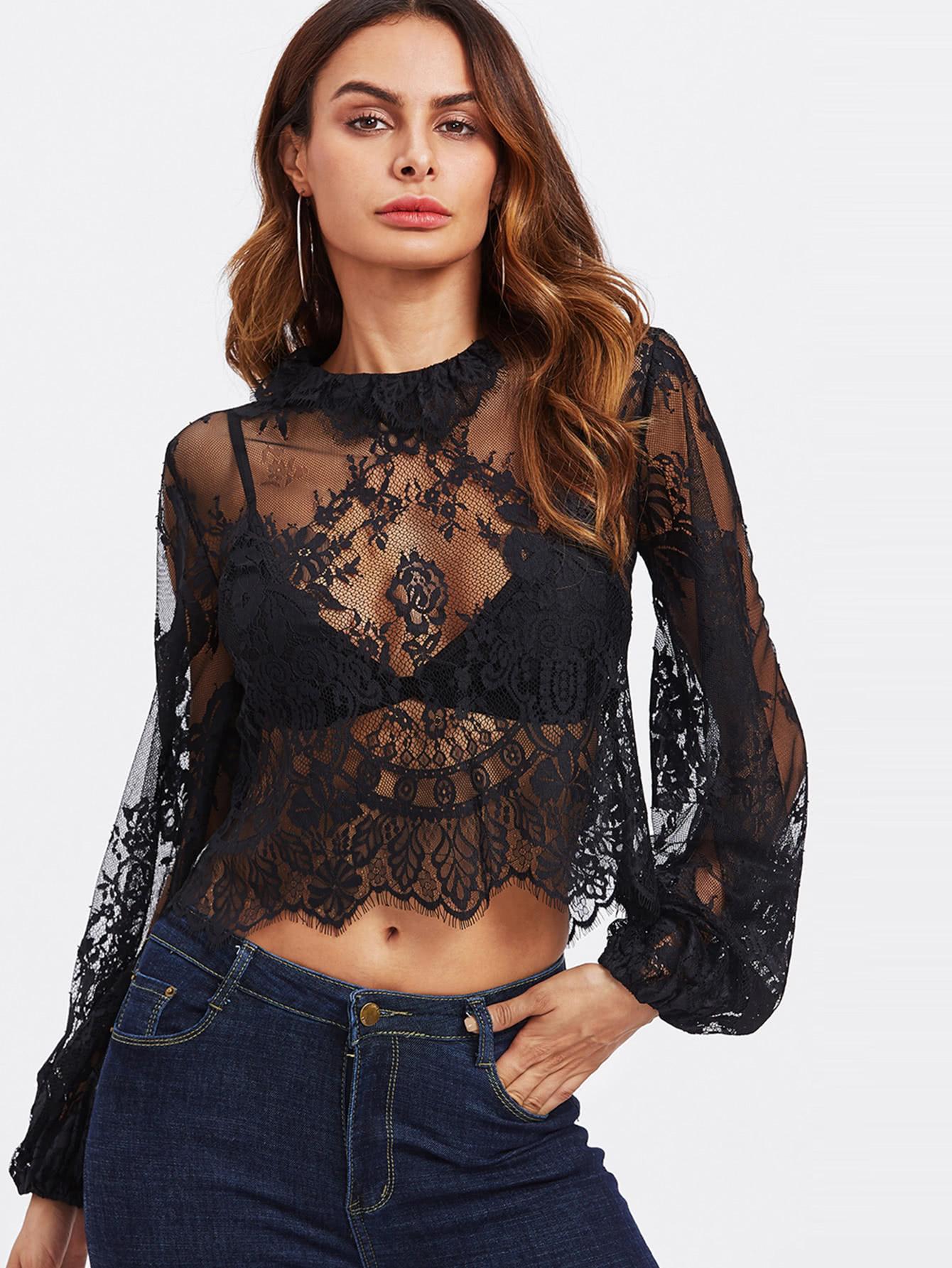 Lantern Sleeve Eyelash Lace Crop Top blouse171019458