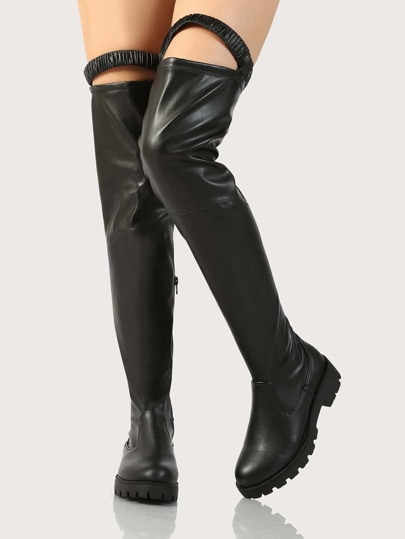 OTK Elastic Top Band Boots BLACK