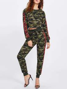 Striped Sleeve Crop Camo Top & Sweatpants Set