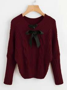 Ribbon Lace Up Cable Knit Sweater