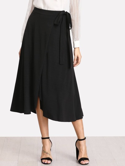 Self Belted Overlap Skirt
