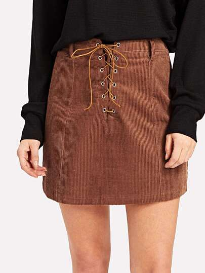 Corduroy Eyelet Lace Up Skirt