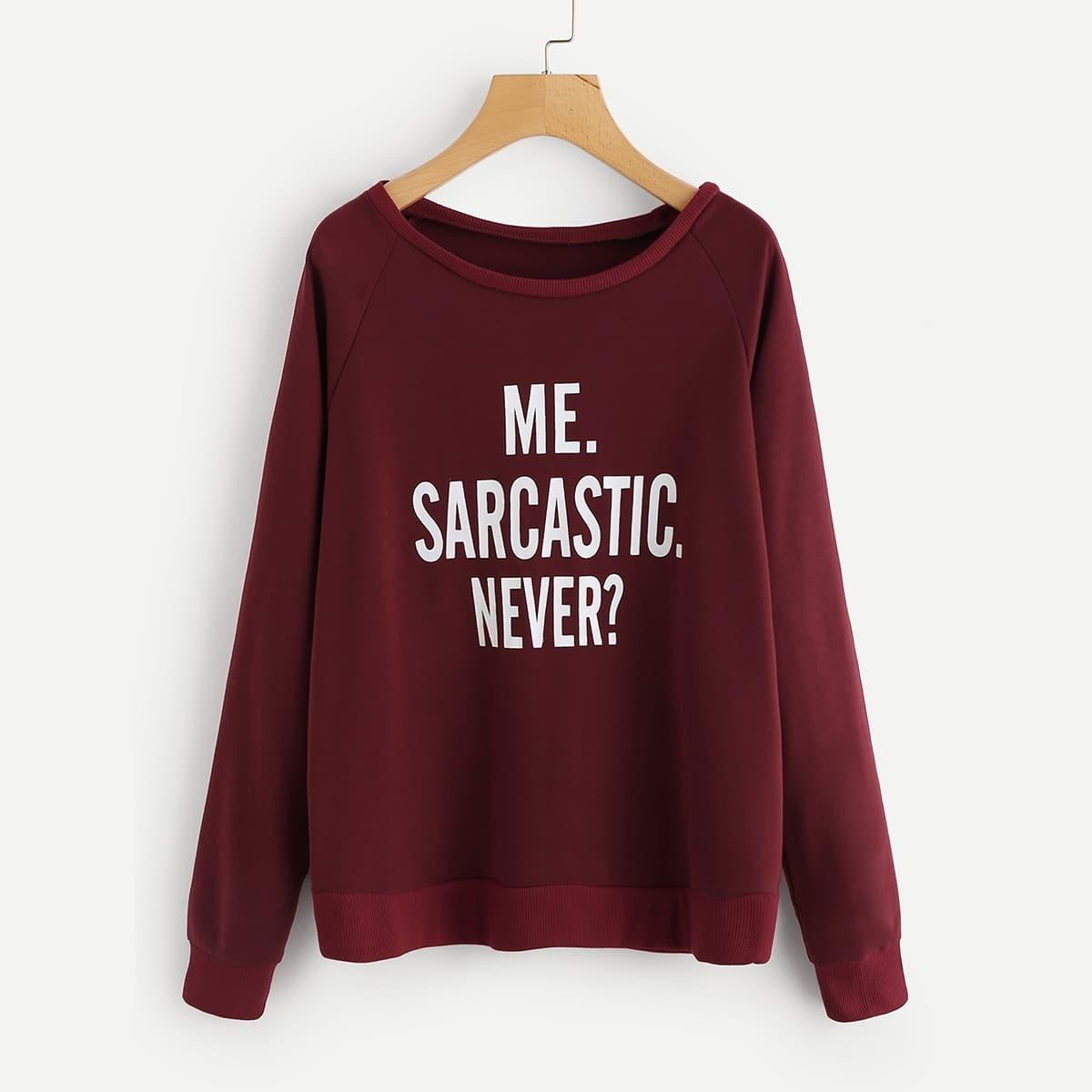 Sweatshirt met slogan print