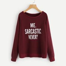Raglan Sleeve Slogan Graphic Sweatshirt