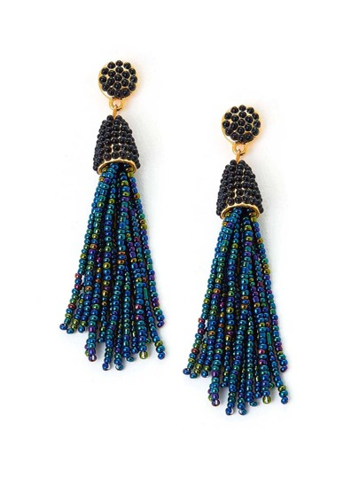 Beaded Tassel Charm Drop Earrings