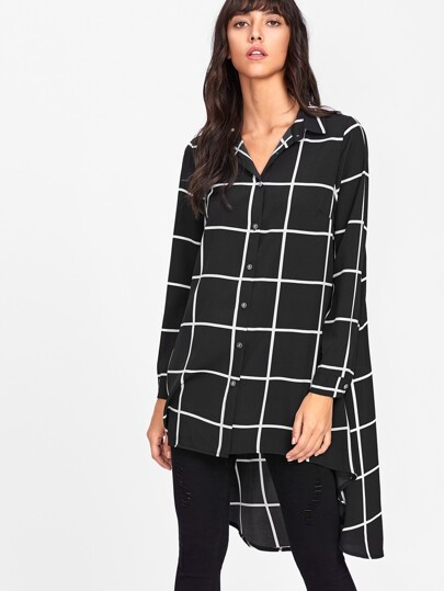 Dip Hem Checked Shirt