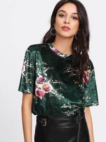 Flower Print Velvet T-shirt