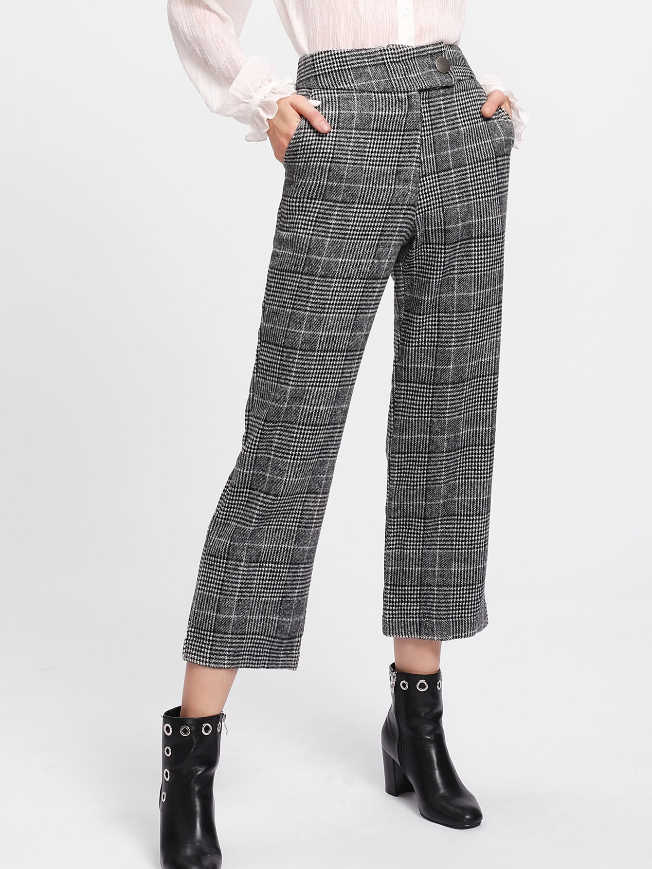Image of Tailored Checked Crop Pants