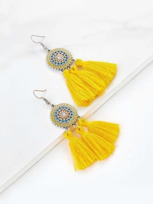 Rhinestone Detail Tassel Drop Earrings