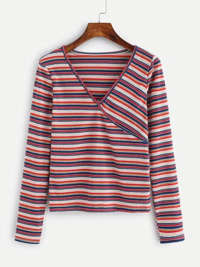Contrast Striped Wrap Tee