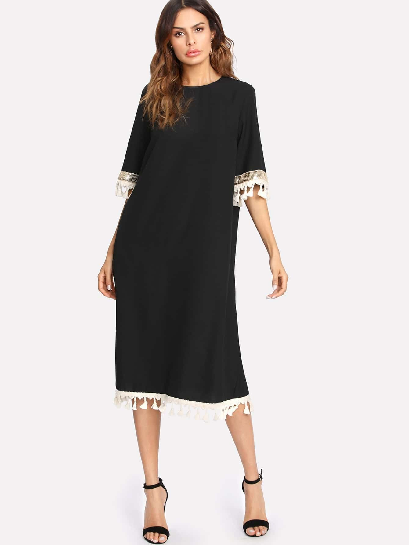 Sequin And Tassel Detail Belted Dress dress171120719
