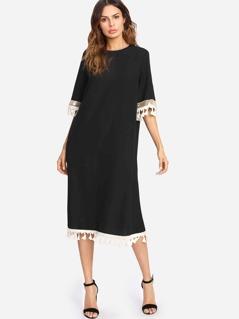 Sequin Panel Tassel Trim Self Belt Dress