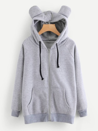 Ear Detail Marled Hooded Jacket
