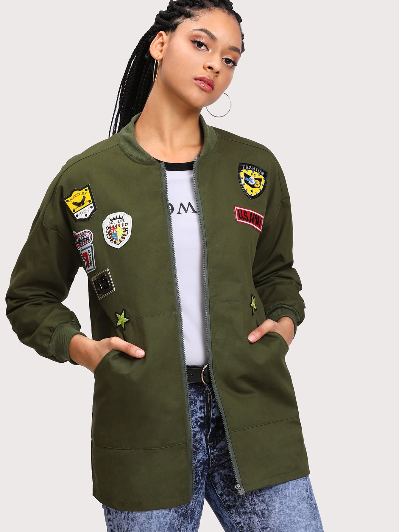 Drop Shoulder Jacket With Badges