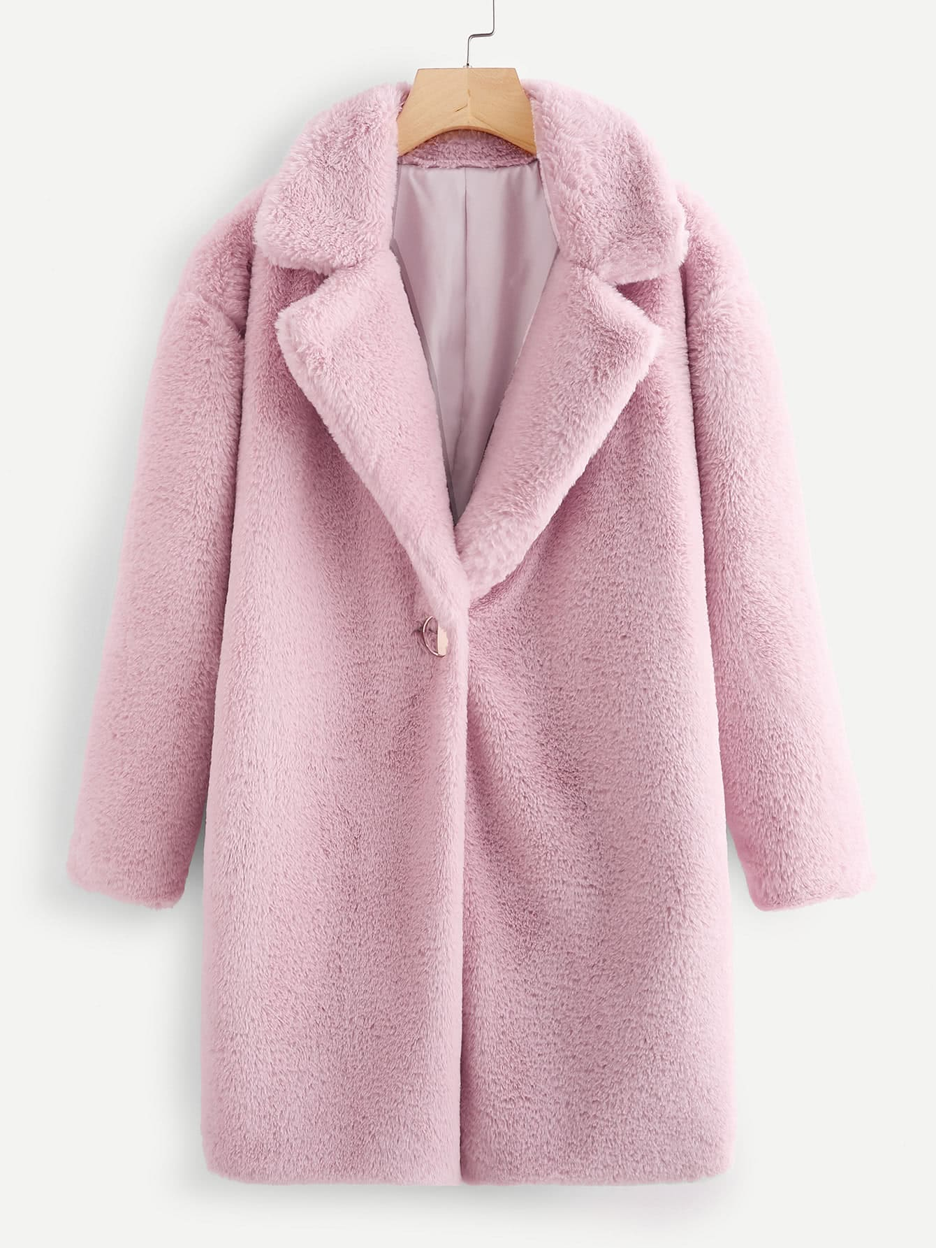 Image of Notch Collar Open Front Faux Fur Coat