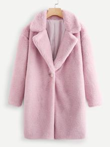 Notch Collar Open Front Faux Fur Coat