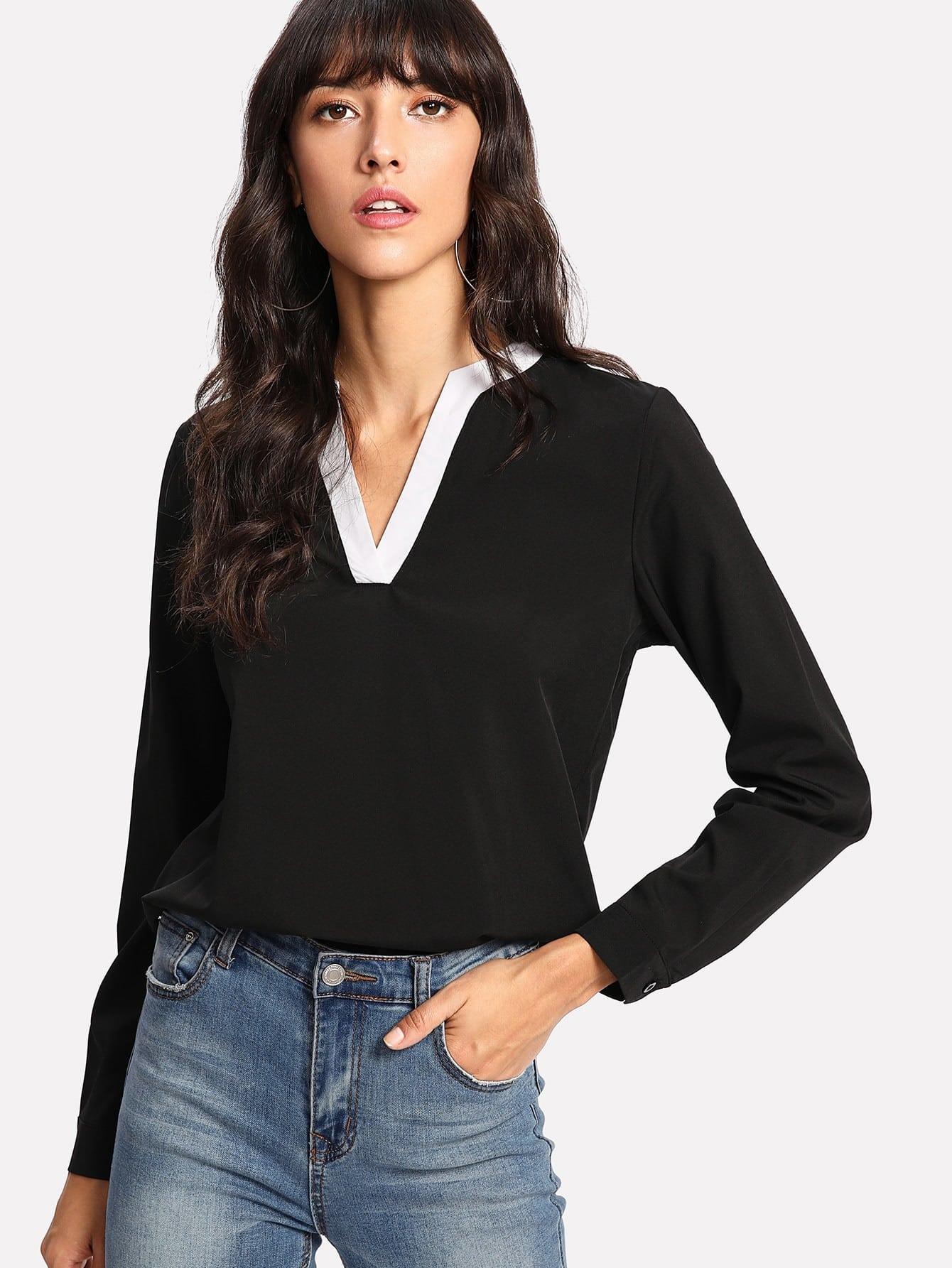 Contrast Trim V-neckline Blouse contrast striped v neckline flute sleeve blouse