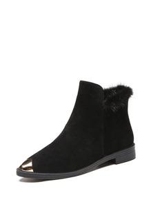 Metallic Cap Toe Faux Fur Detail Boots