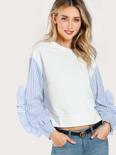 Split Contrast Striped Sleeve Solid Top WHITE