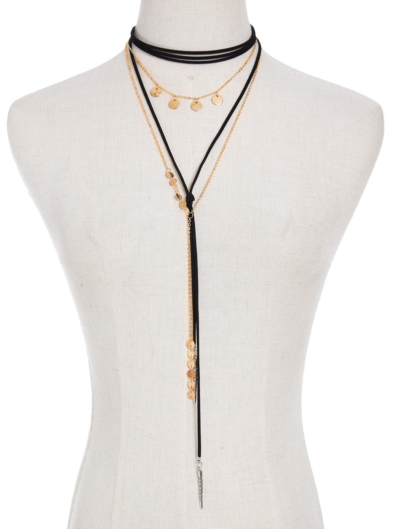 все цены на Sequin & Bar Detail Y Chain Necklace