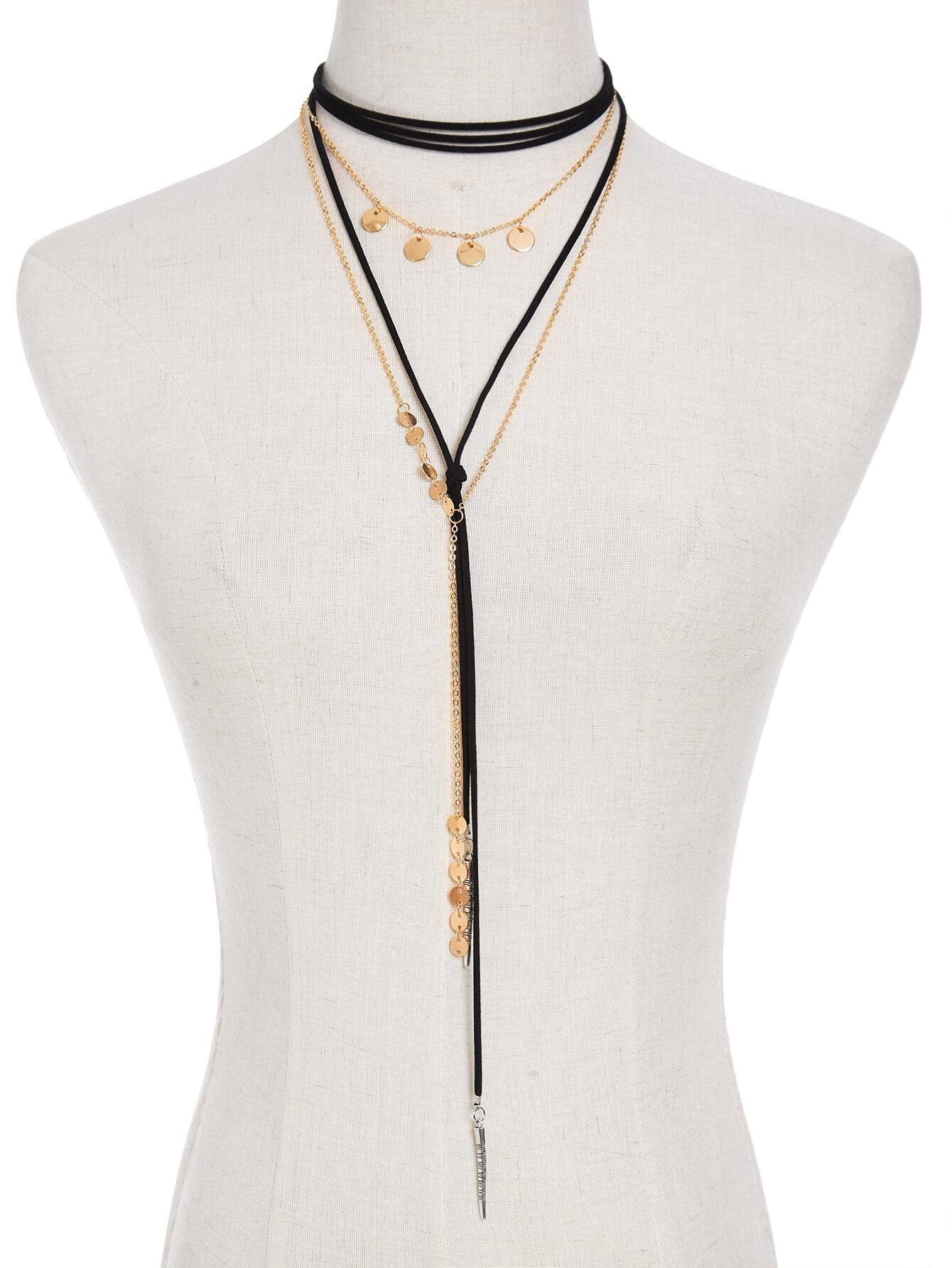 Sequin & Bar Detail Y Chain Necklace