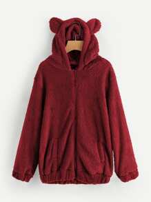 Faux Fleece Hooded Bear Coat