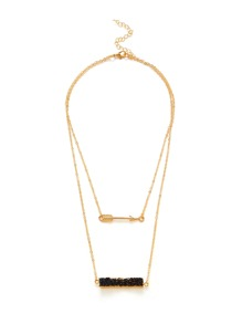 Arrow Pendant Layered Chain Necklace