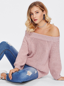 Off Shoulder Texture Knit Sweater
