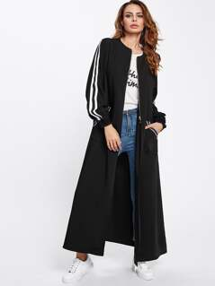 Striped Sleeve Maxi Bomber Coat