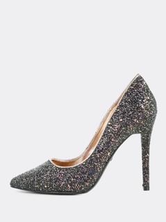 Point Toe Glitter Pump BLACK
