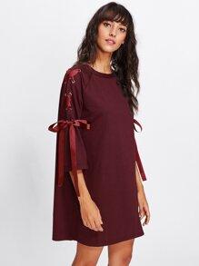 Ribbon Lace Up Raglan Sleeve Marled Tee Dress