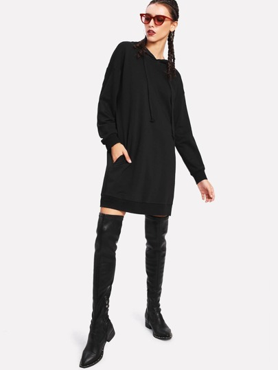 Drop Shoulder Hoodie Dress