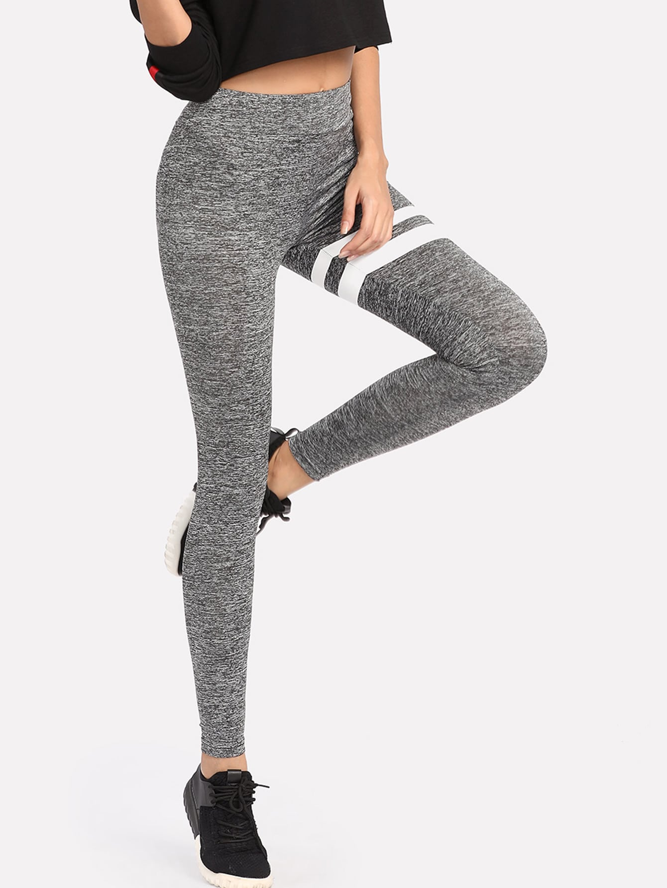Striped Marled Knit Leggings