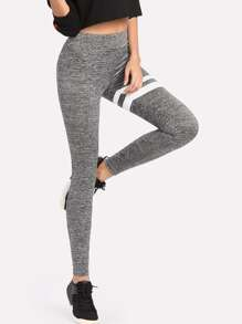 Stripe Print Marled Knit Leggings
