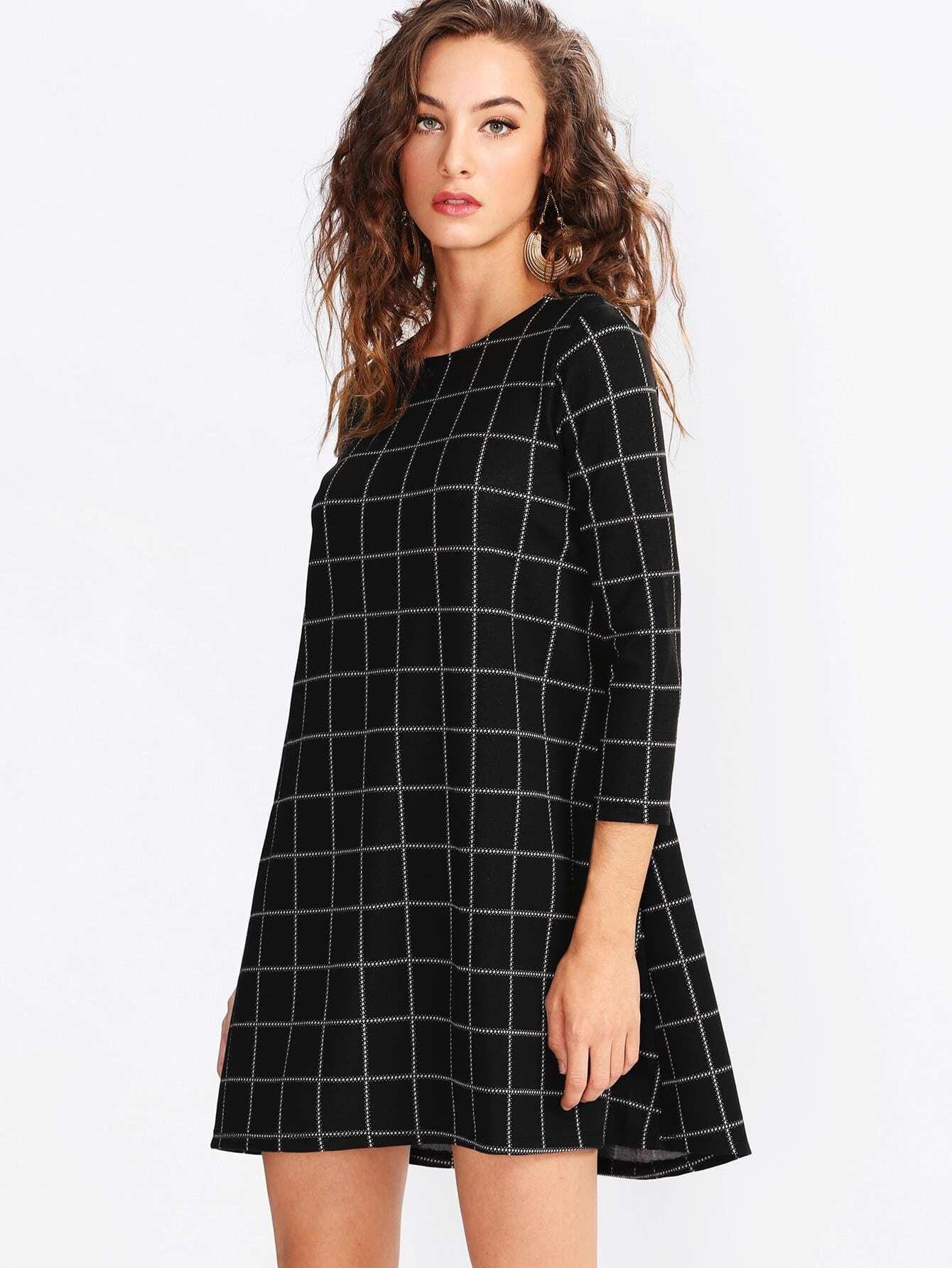 Grid Swing Dress lisa corti короткое платье