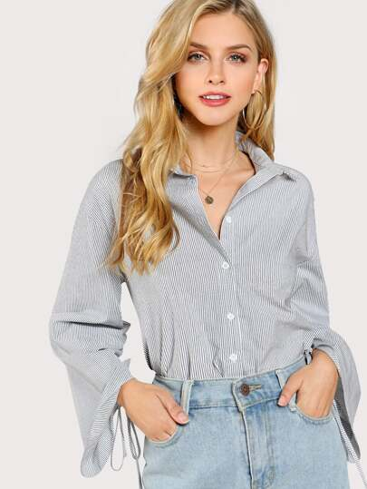 Shirred Drawstring Sleeve Stripe Blouse
