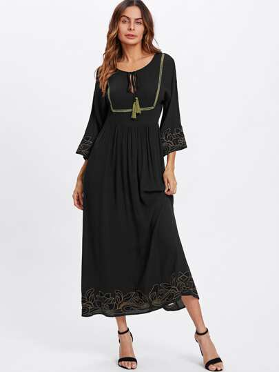 Tassel Tie Lace Insert Cutout Embroidered Dress