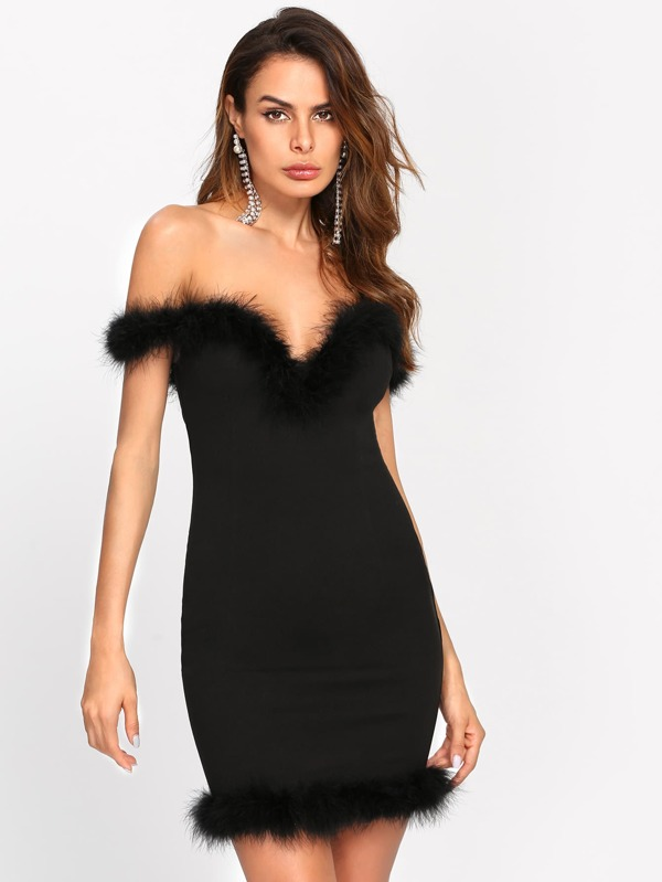 Fur Trim Dress