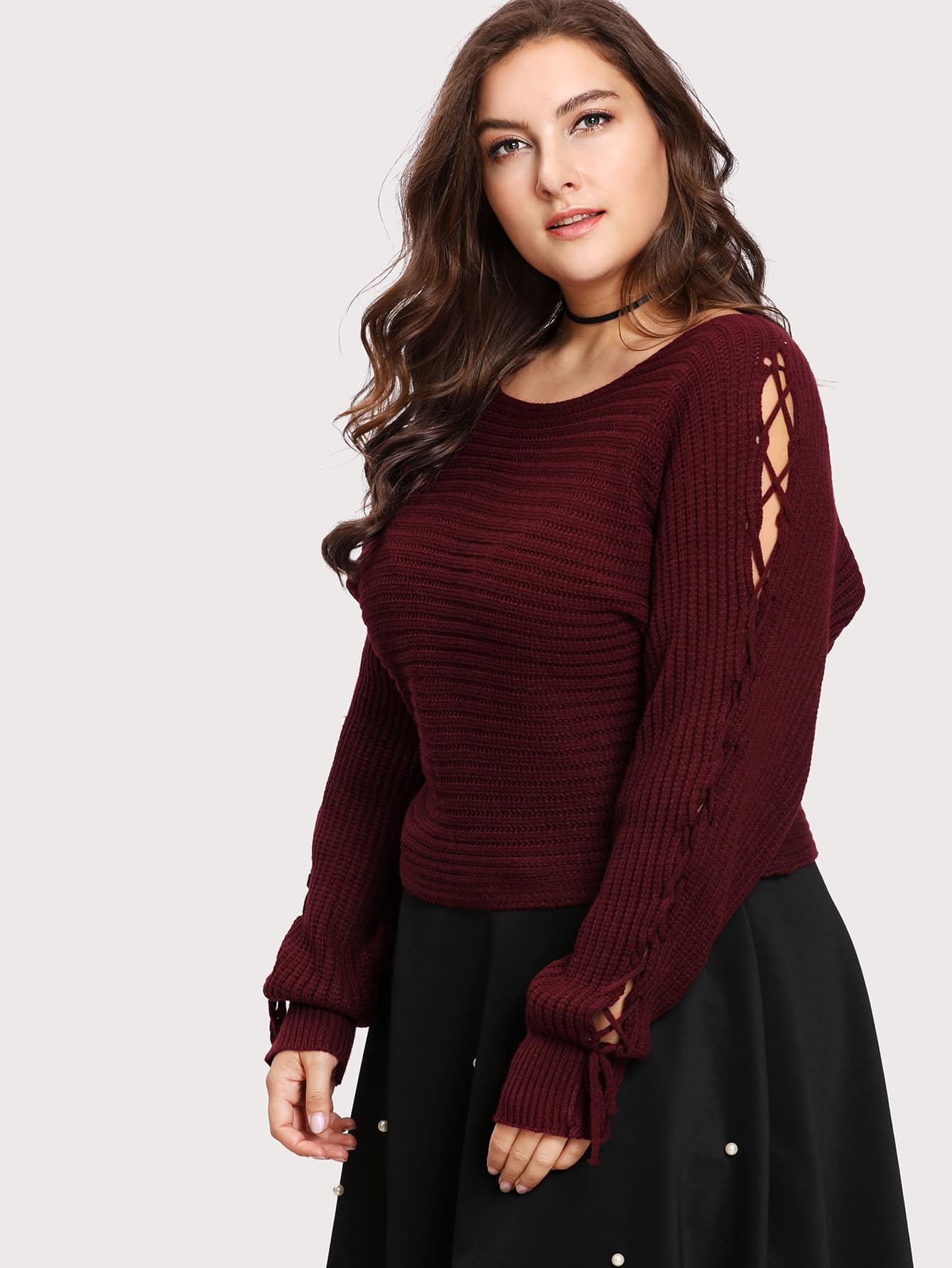 Lace Up Sleeve Waffle Knit Sweater