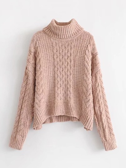 Cable Knit Turtleneck Chenille Sweater