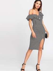 Asymmetrical Flounce Neck Slit Front Gingham Dress