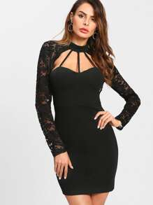 Lace Sleeve Cage Sweetheart Dress