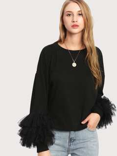 Flounce Layered Cuff Drop Shoulder Tee