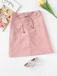 Dual Pocket Lace Up Zip Up Back Skirt