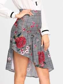 Asymmetric Flounce Hem Floral & Plaid Skirt