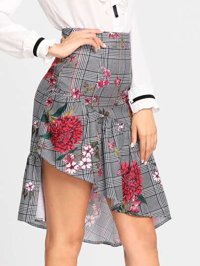 Asymmetric Flounce Hem Floral & Plaid Skirt