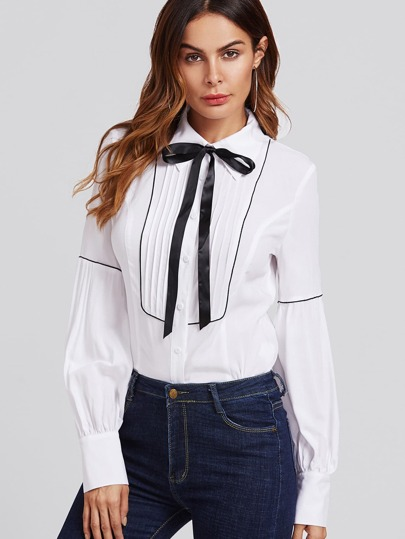 Piping Detail Pleated Yoke Bishop Sleeve Blouse